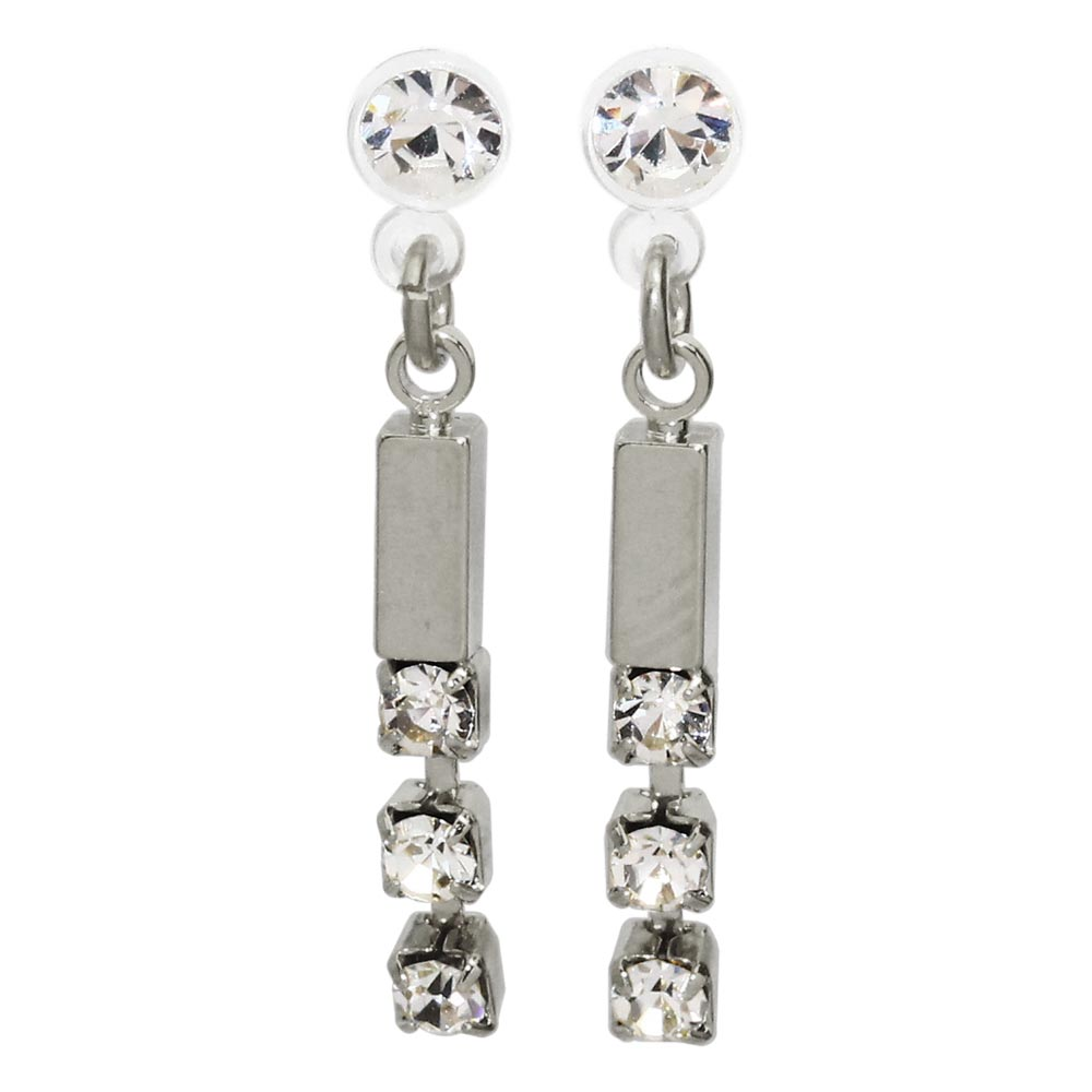 Rhinestone Short Bar Invisible Clip On Earrings - Osewaya