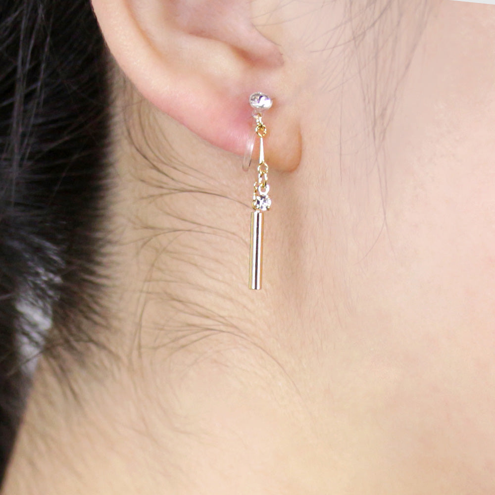 Simple Short Bar Chain Invisible Clip On Earrings - Osewaya