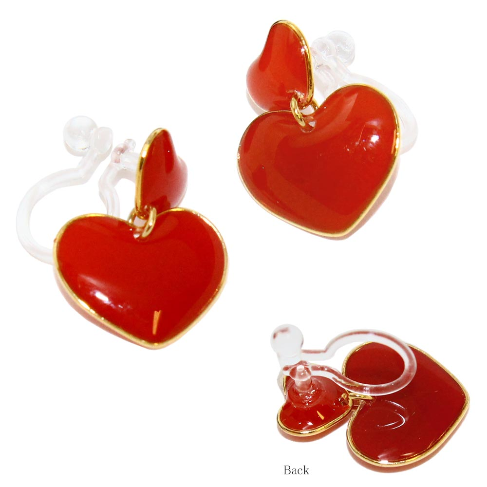 Plump Double Heart Invisible Clip On Earrings - Osewaya
