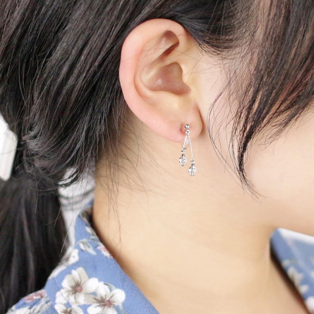 Double Stone Drop Invisible Clip On Earrings - Osewaya