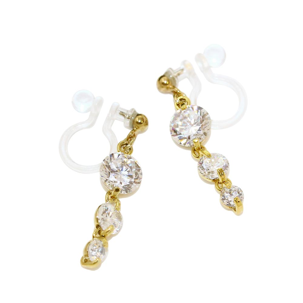 Triple Stone Invisible Clip On Earrings - Osewaya