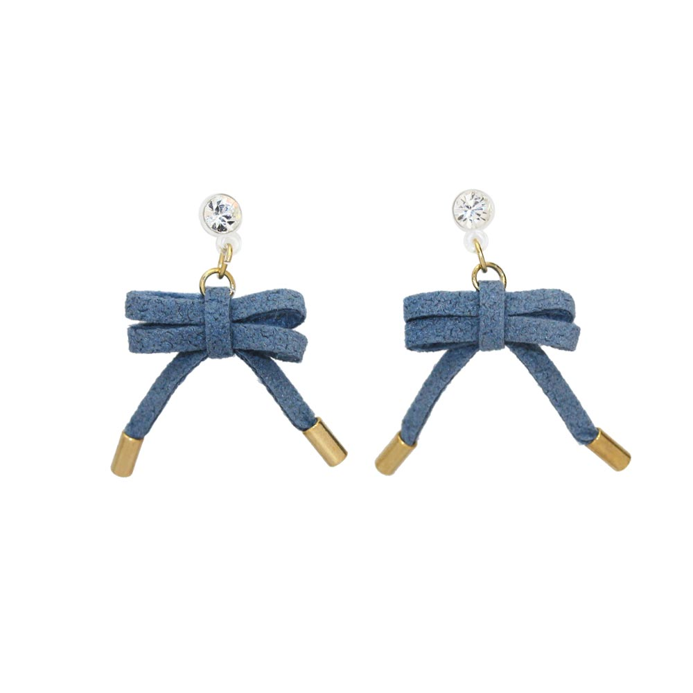 Faux Suede Bow Invisible Clip On Earrings - Osewaya