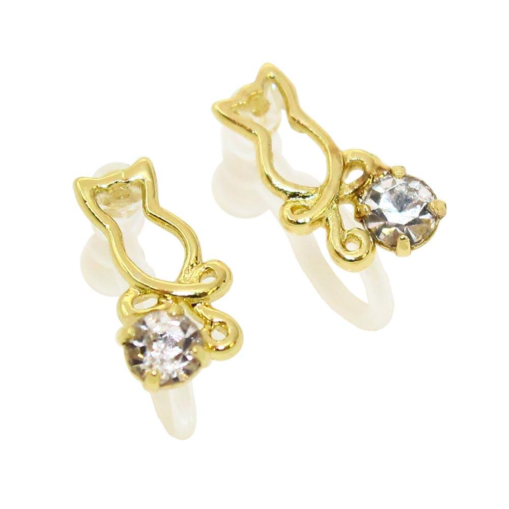 Hollow Cat Invisible Clip On Earrings - Osewaya