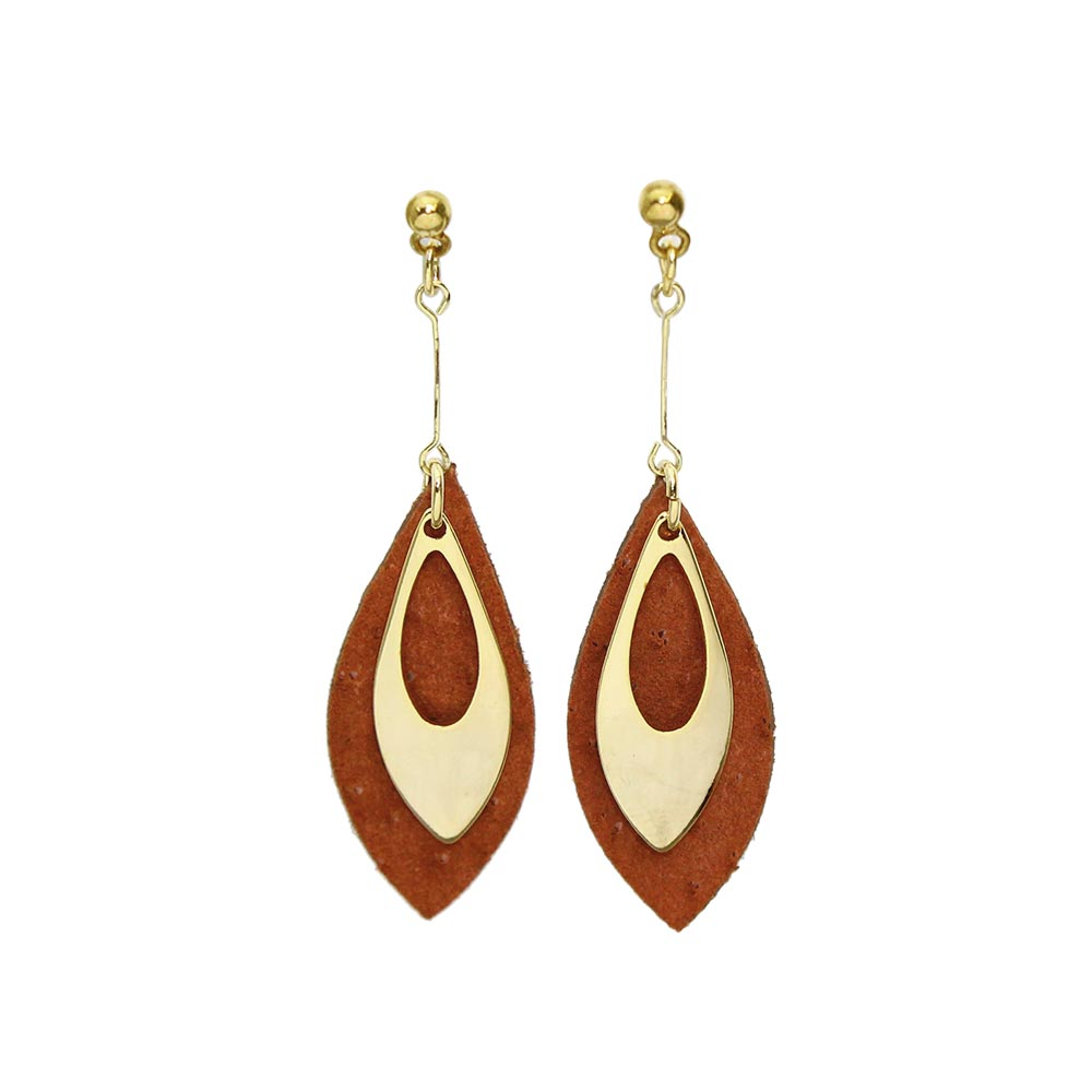 Leather Leaf Invisible Clip On Earrings - Osewaya