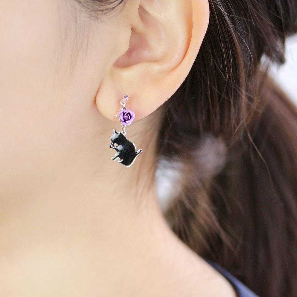 Kitten and Rose Invisible Clip On Earrings - Osewaya