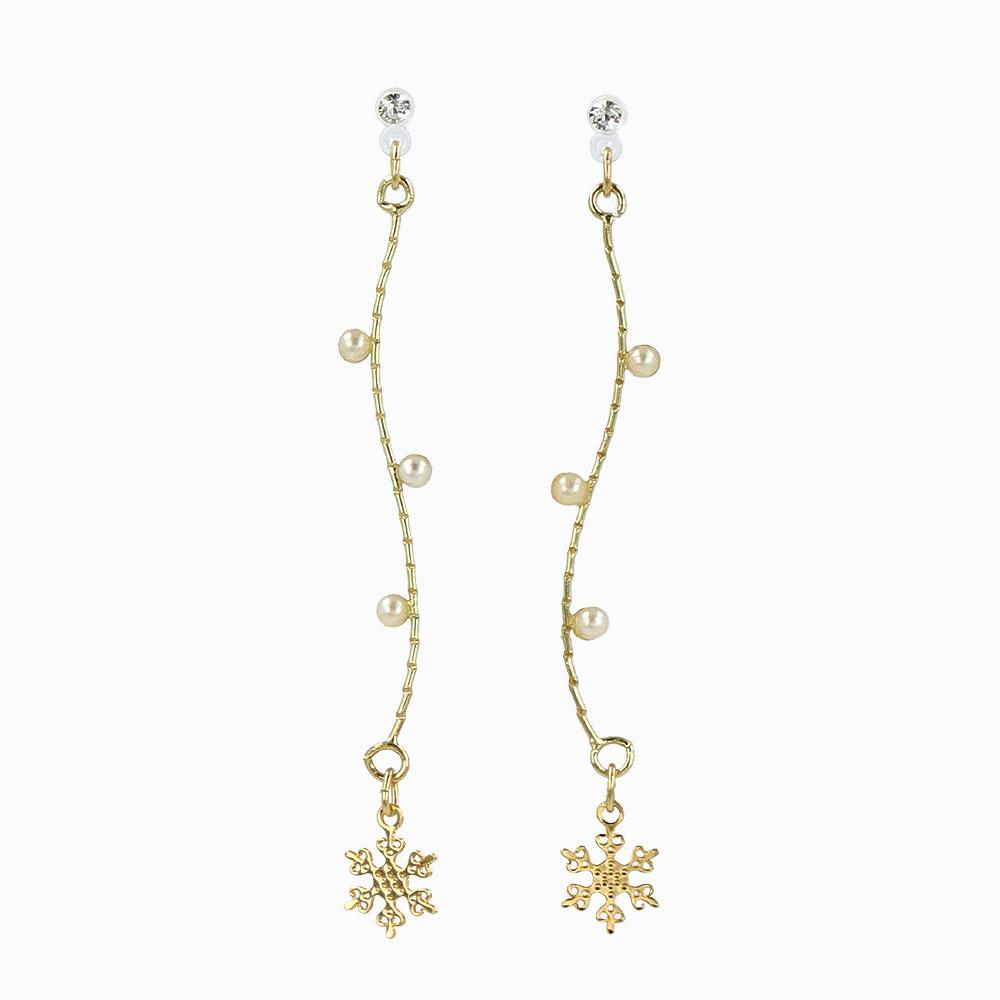 Icicle Branch Snowflake Invisible Clip On Earrings - osewaya