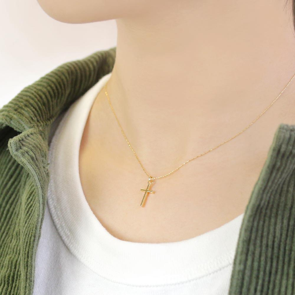 Gold and Silver Magnetic Clasp Necklace Small Cross Necklace - Osewaya