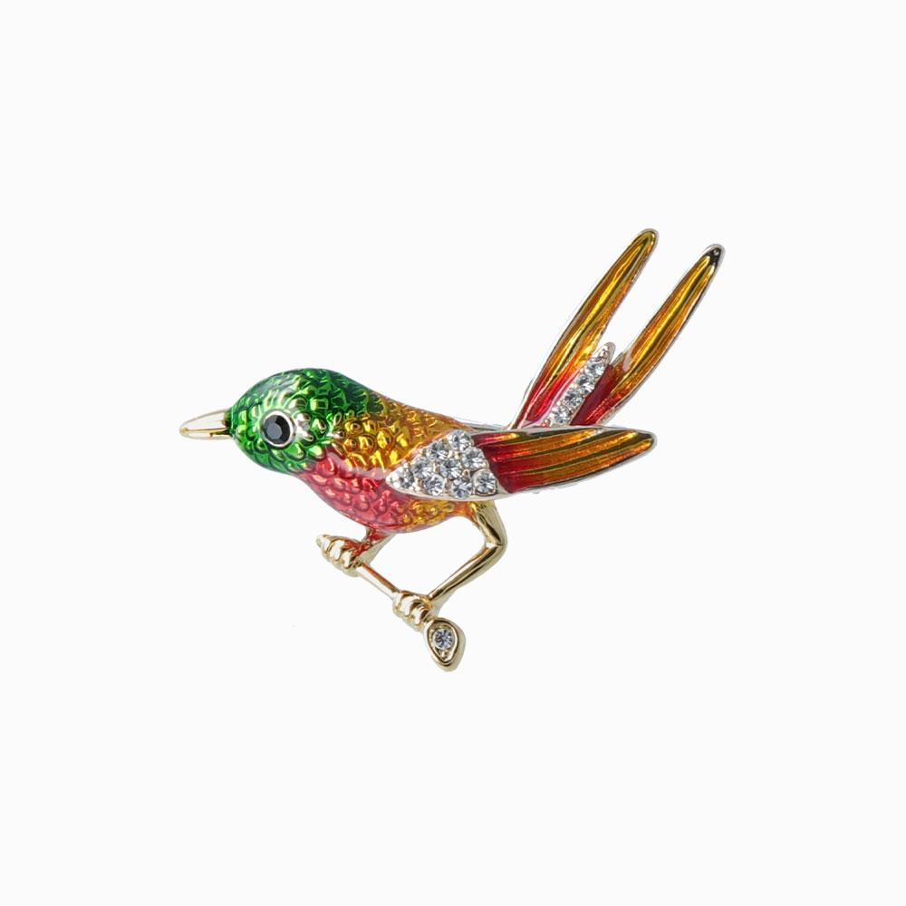 Rhinestone Little Bird Brooch - osewaya
