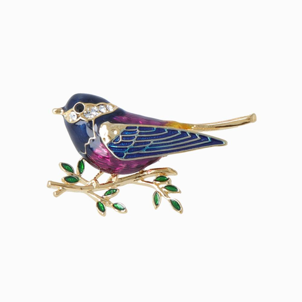 Little Rhinestone Bird Brooch - osewaya