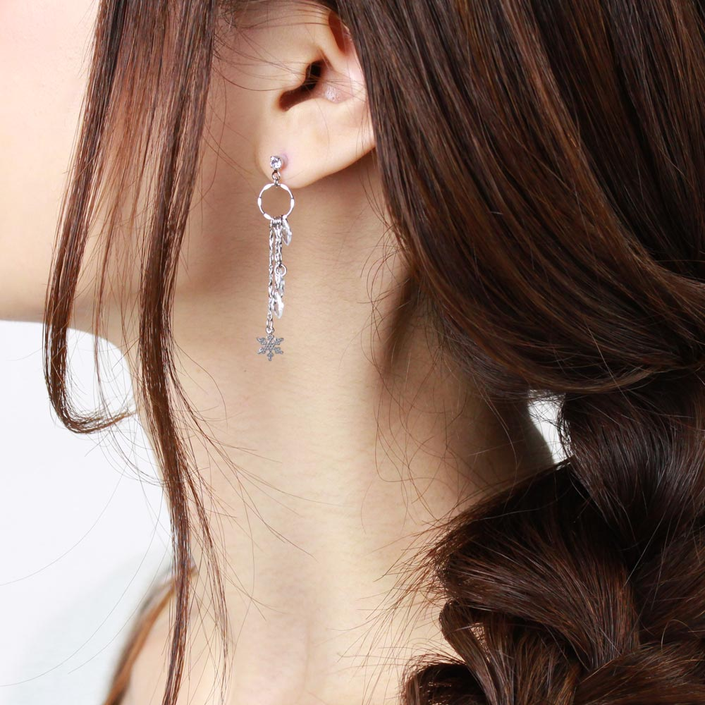 Snow Crystal Drop Chain Earrings - Osewaya