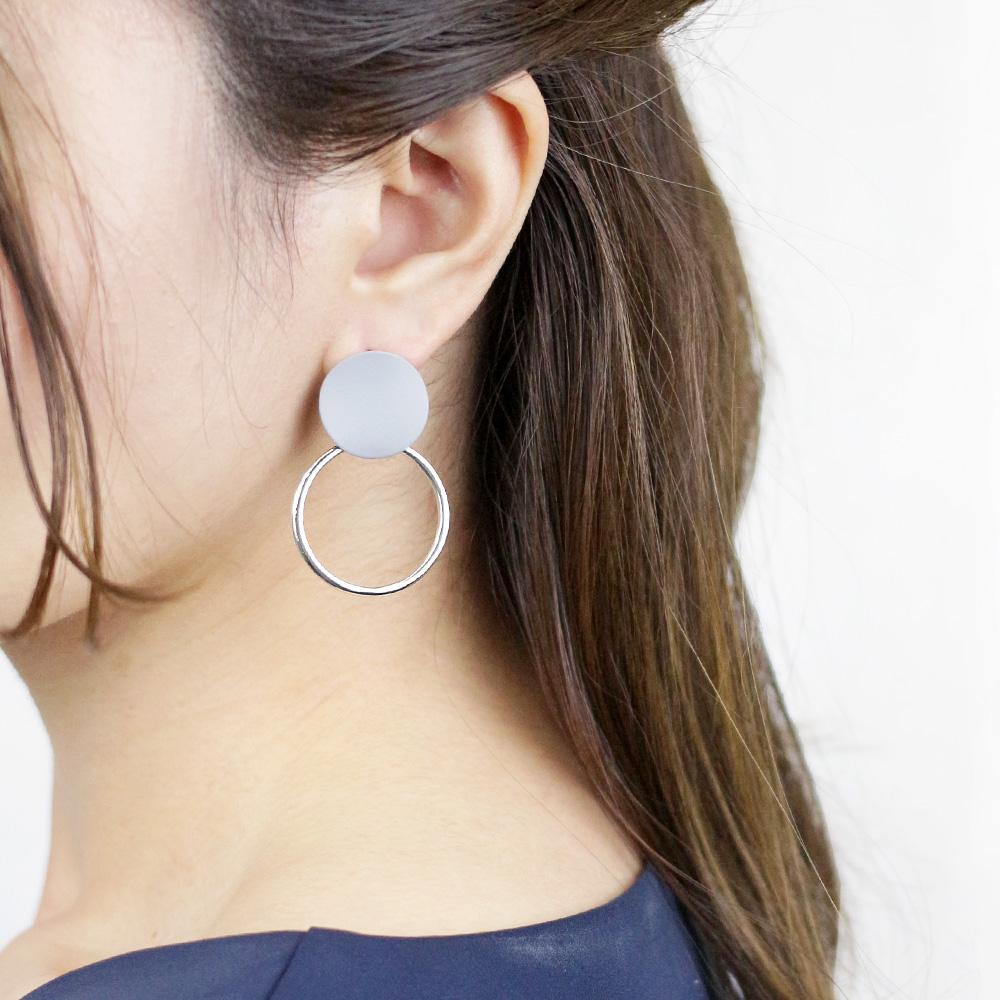 Metal and Acrylic Multi Circle Earrings - Osewaya