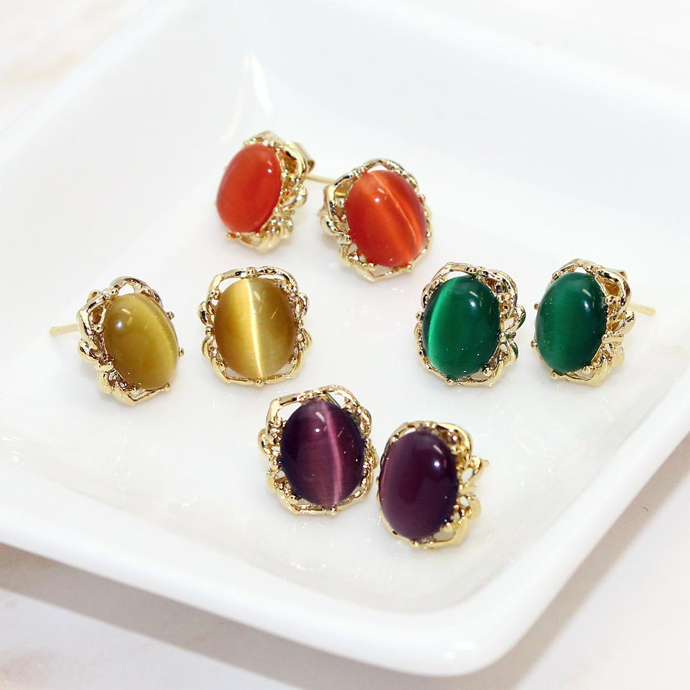 Faux Cat's Eye Stone Cabochon Earrings