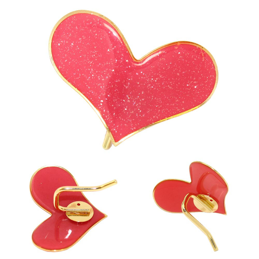 Wide Sparkle Heart Hair Hook - Osewaya