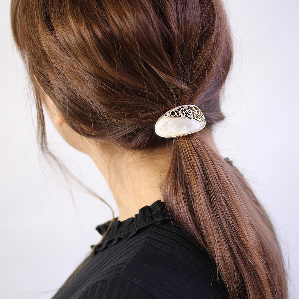Marble and Filigree Oval Hair Hook
