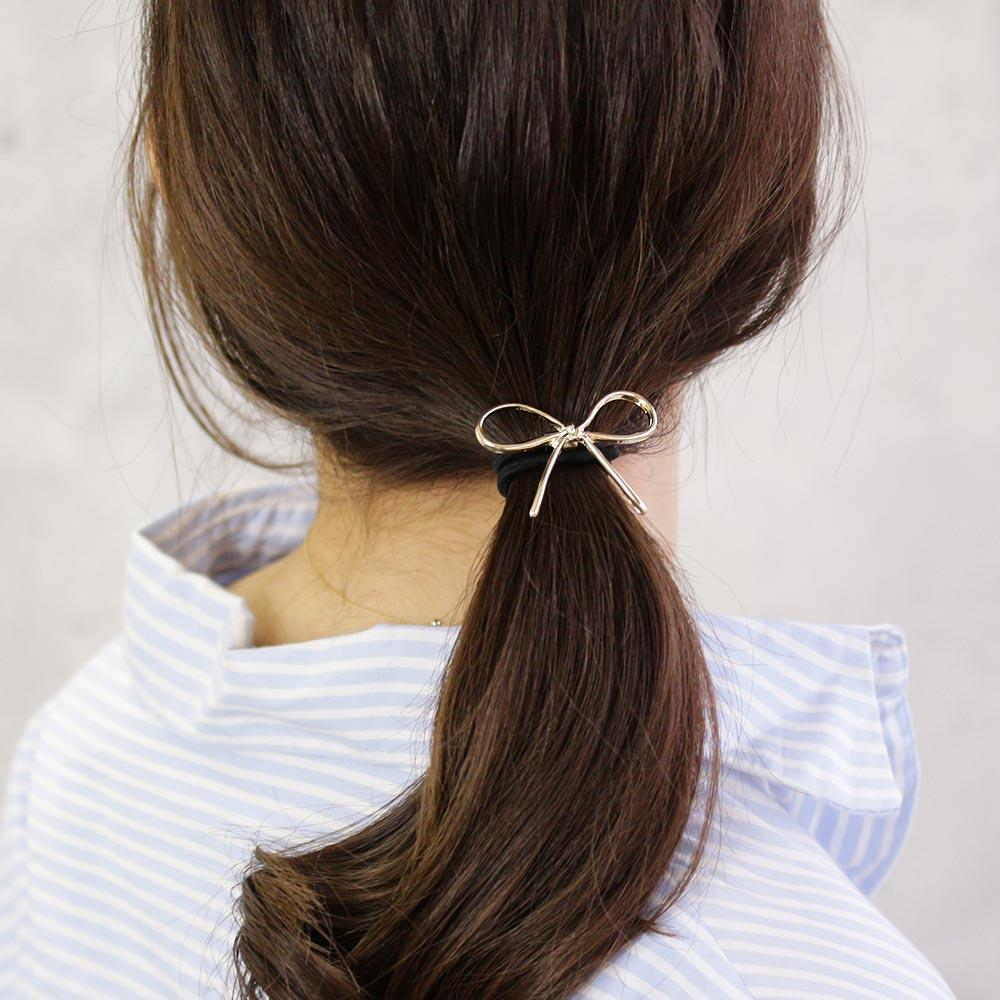 Metal Bow Tie Ponytail Holder