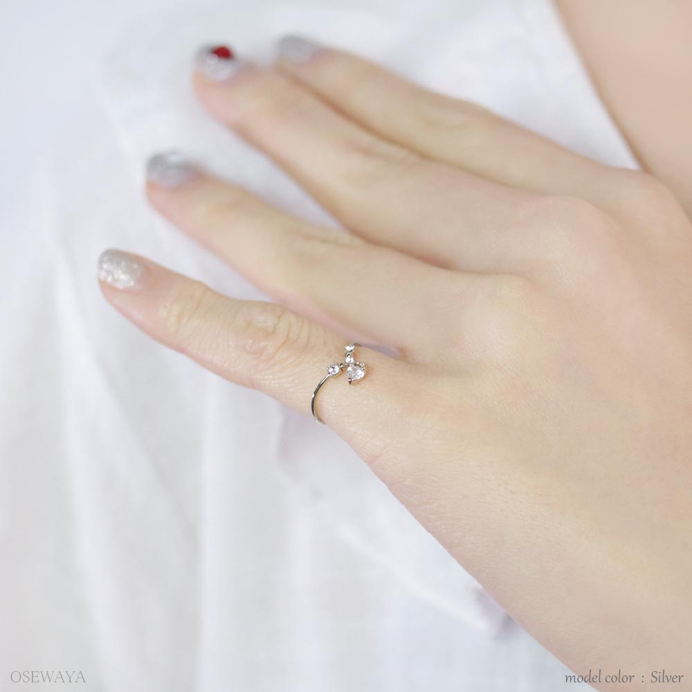 Dangle Heart Stone Skinny Ring - Osewaya