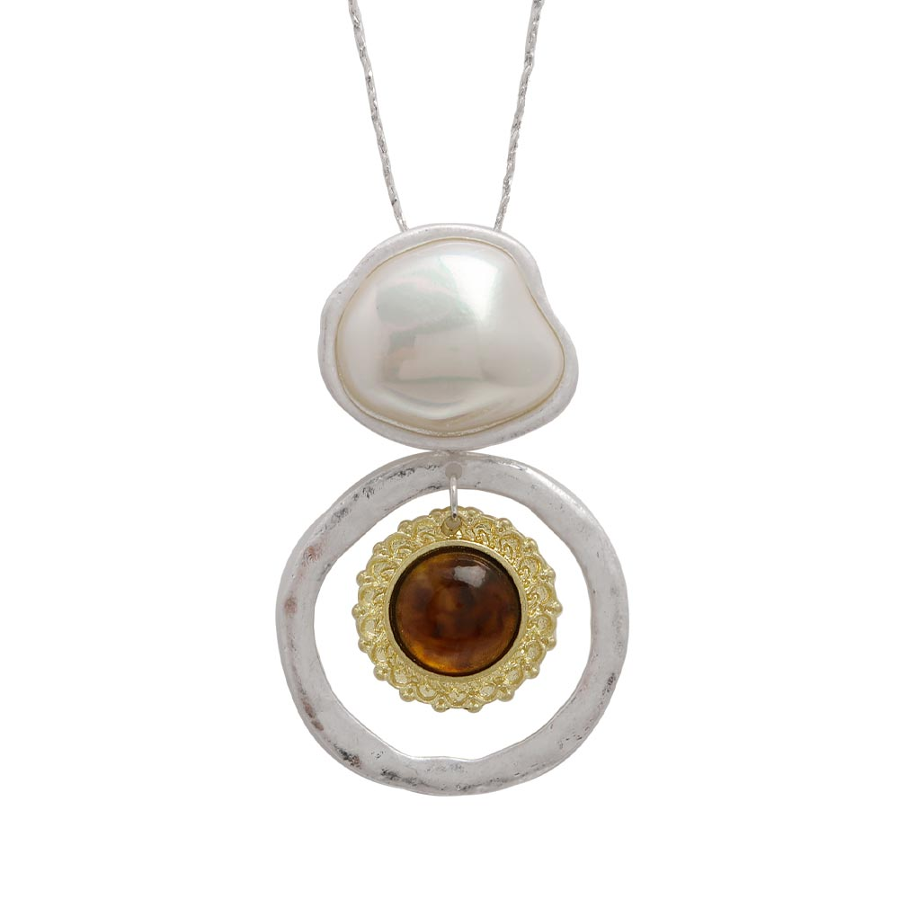 Baroque Pearl Tortoise Shell Resin Long Necklace - Osewaya