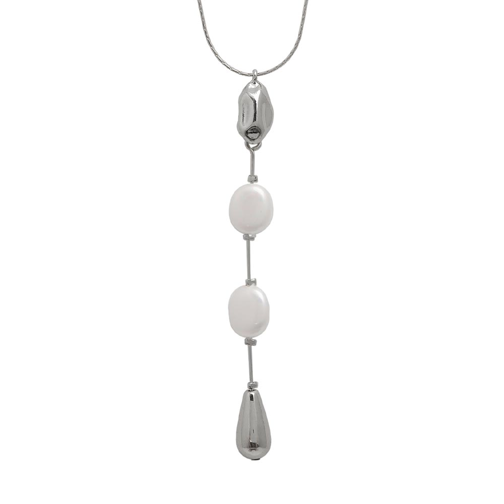 Aurora Pearl Drop Metal Long Necklace - Osewaya