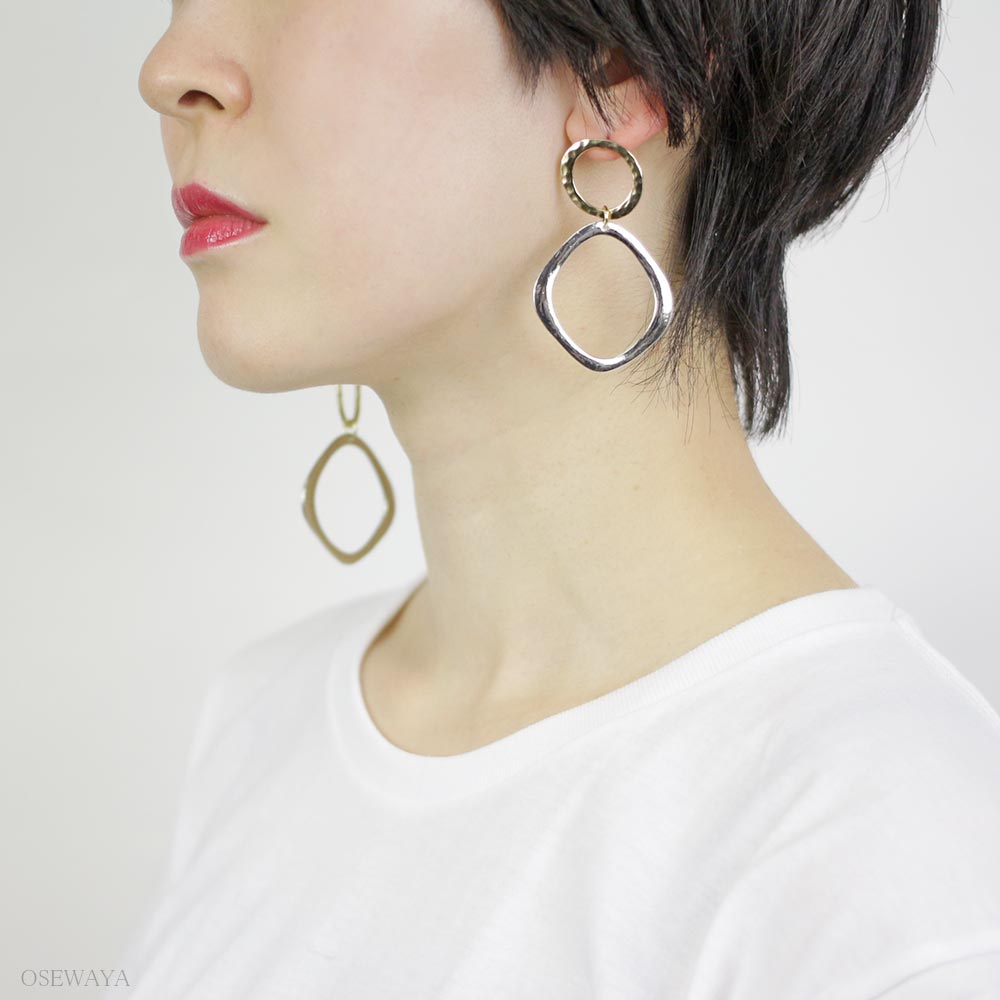 Asymmetrical Rhombus Hoop Earrings - Osewaya