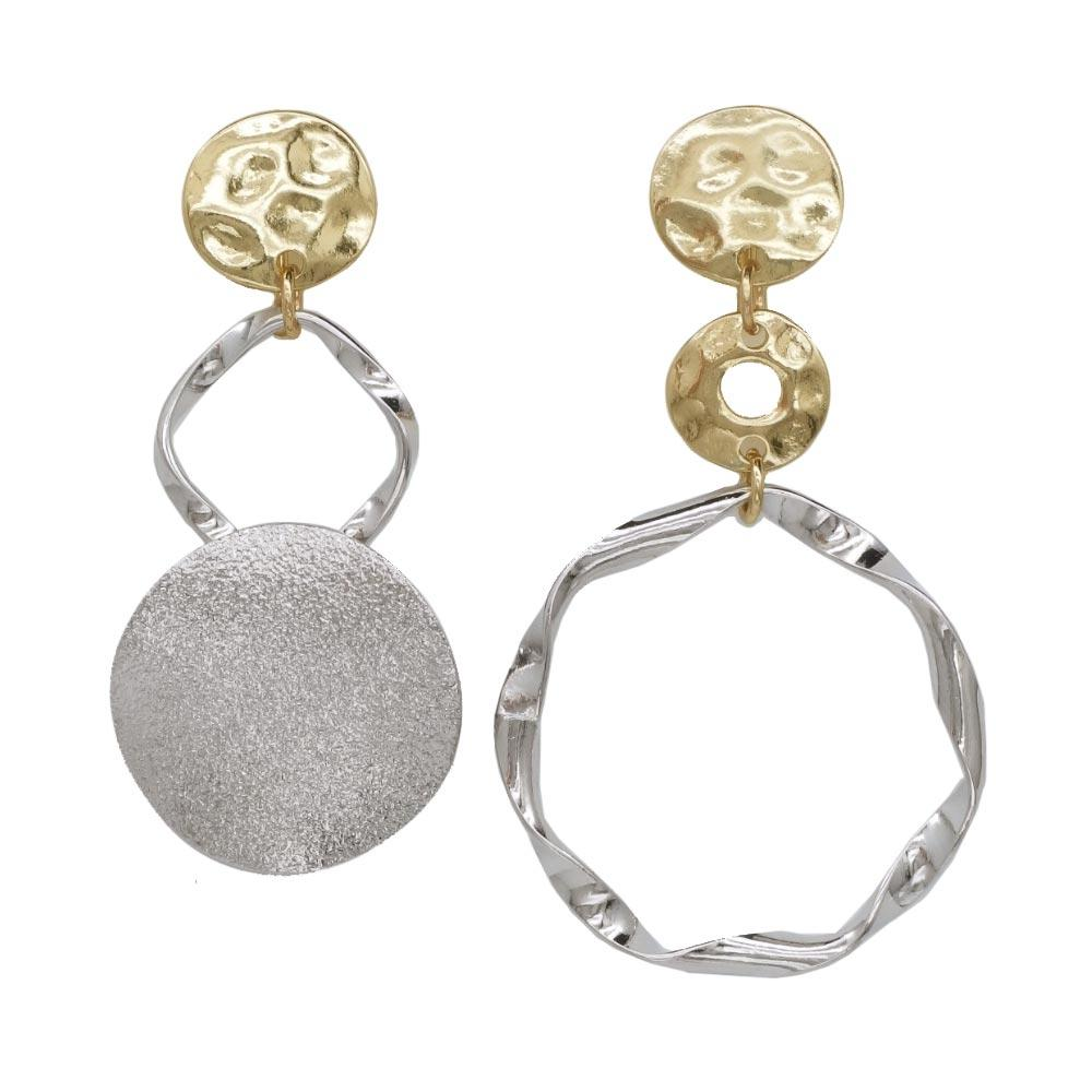 Multi Metal Circle Clip On Earrings - Osewaya