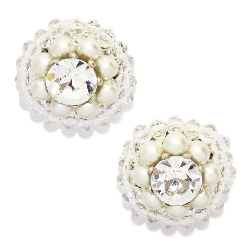 Pearl Crystal Pave Stud Earrings - osewaya