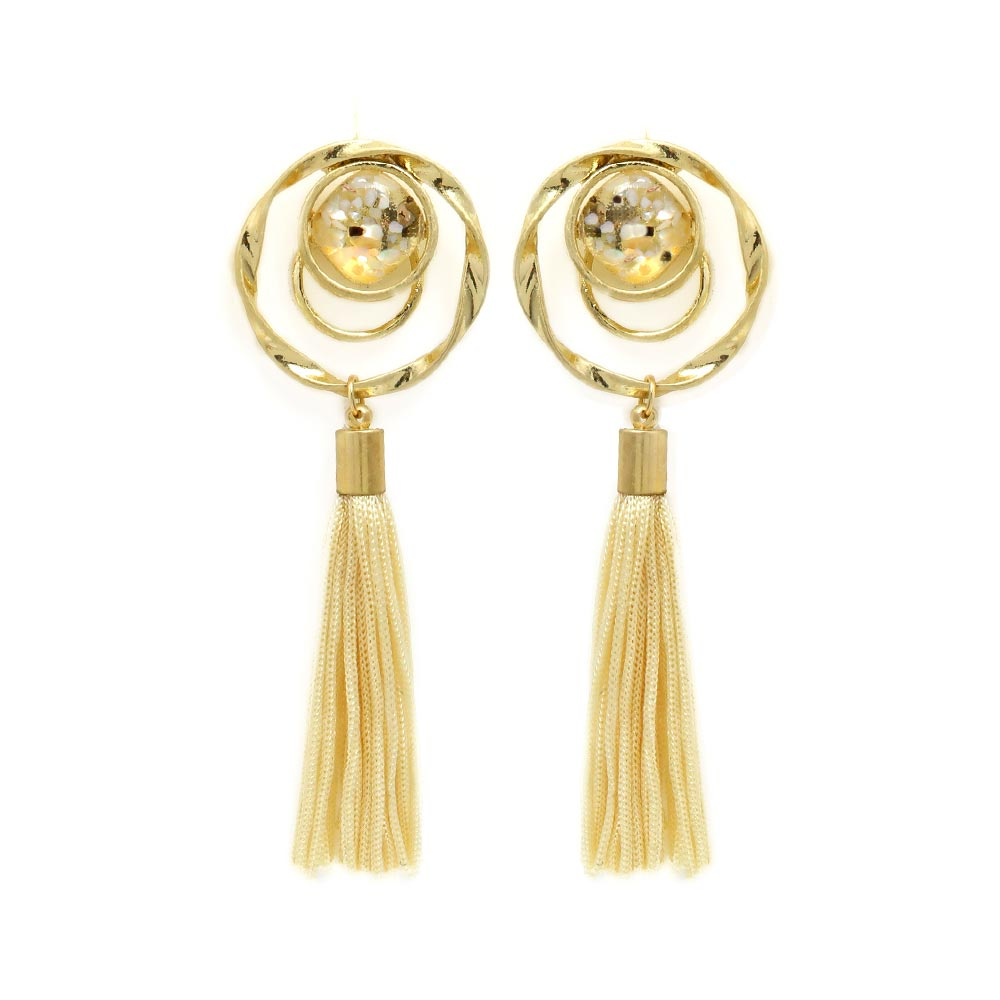 Twisted Hoop Tassel Statement Clip On Earrings - Osewaya