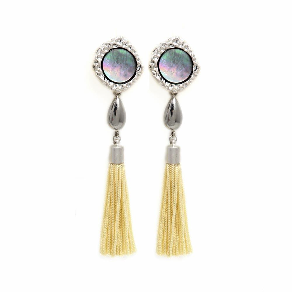 Shell Disc Tassel Statement Clip On Earrings - Osewaya