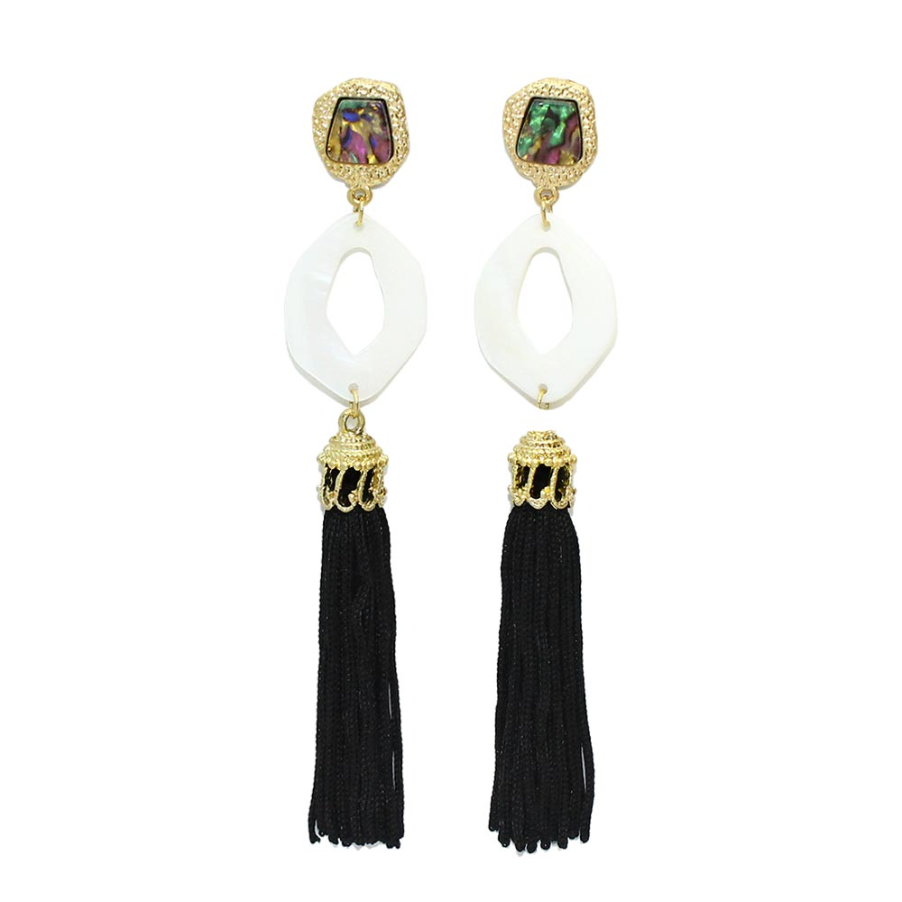 Rhombus Shell Hoop Tassel Earrings - Osewaya