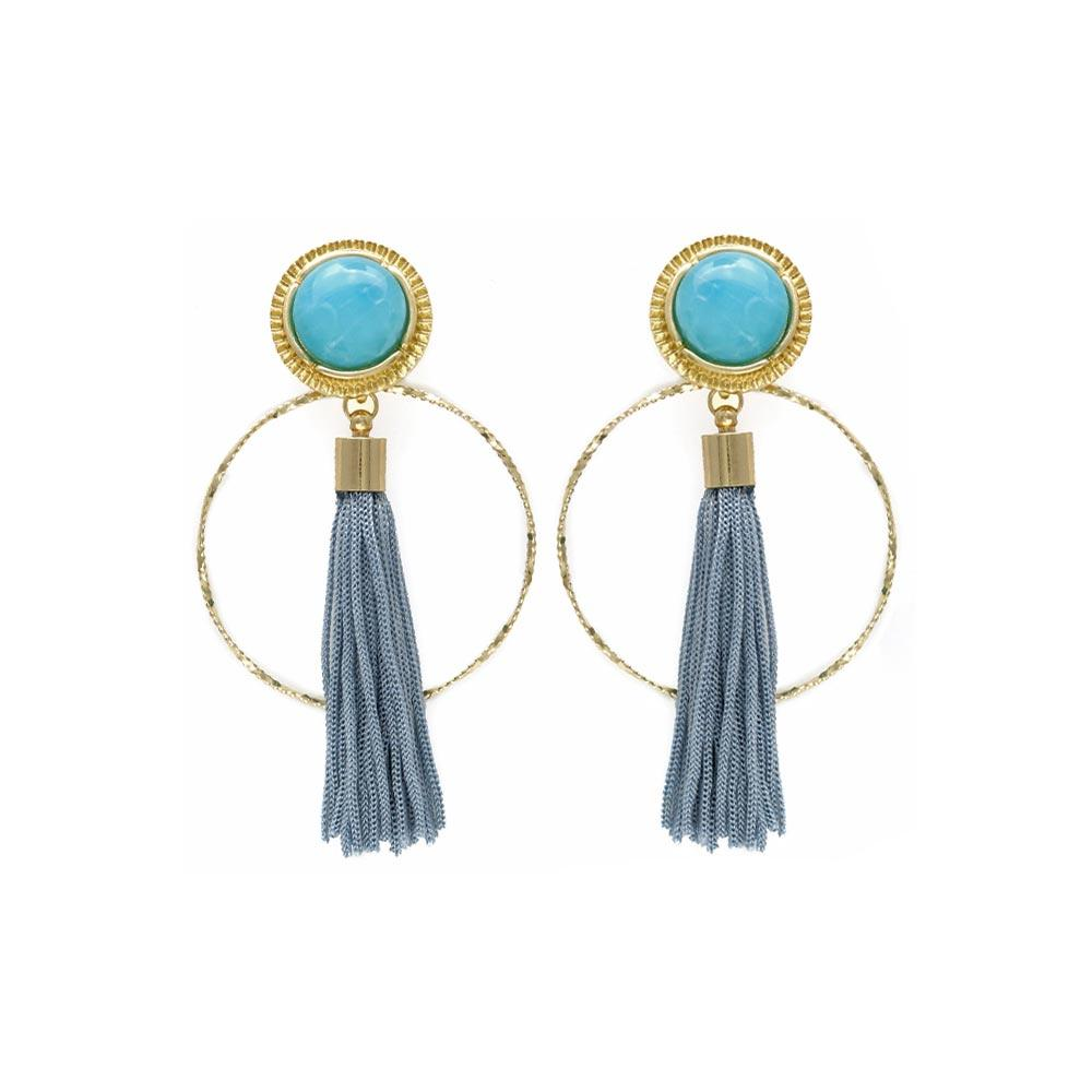Twisted Hoop Bezel Tassel Statement Earrings - Osewaya