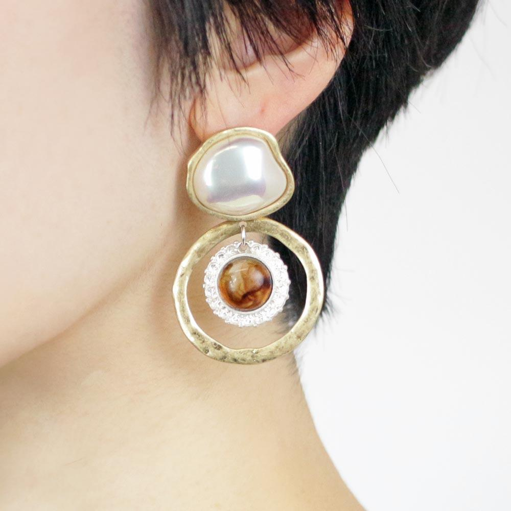 Baroque Pearl Tortoise Shell Resin Circle Earrings - Osewaya