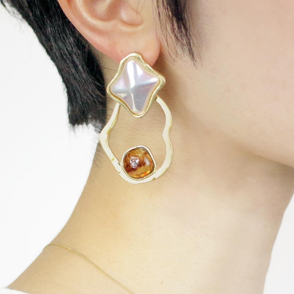 Baroque Pearl Tortoise Shell Resin Unique Circle Earrings - Osewaya