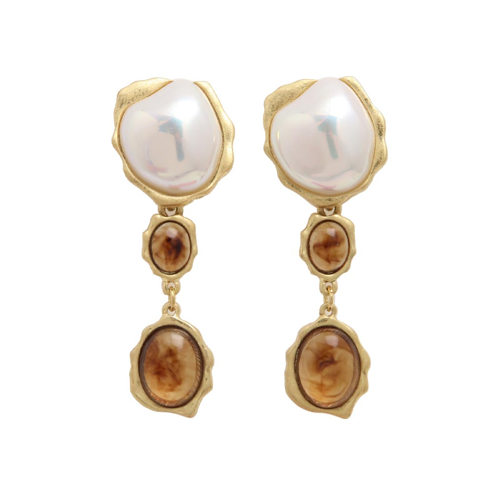 Baroque Pearl Tortoise Shell Resin Drop Earrings - Osewaya
