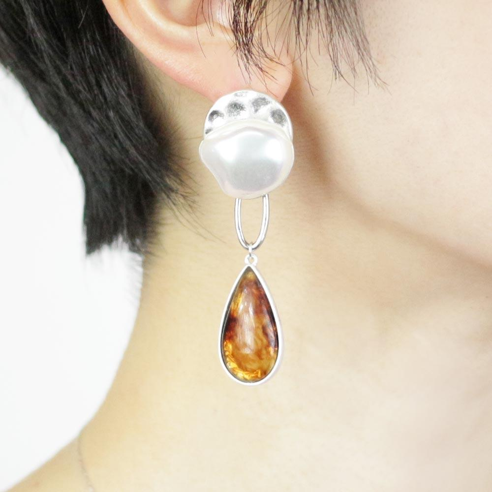 Baroque Pearl Tortoise Shell Resin Teardrop Earrings - Osewaya
