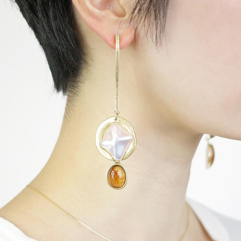Baroque Pearl and Acrylic Tortoise Shell Stick Earrings - Osewaya
