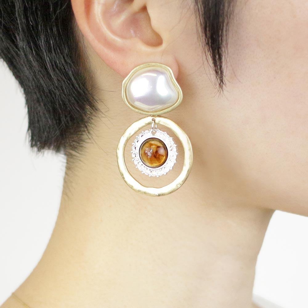 Baroque Pearl and Acrylic Tortoise Shell Double Circle Clip On Earrings - Osewaya