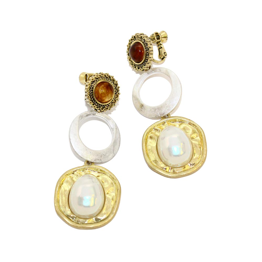 Acrylic Tortoise Shell Pearl Drop Clip On Earrings - Osewaya