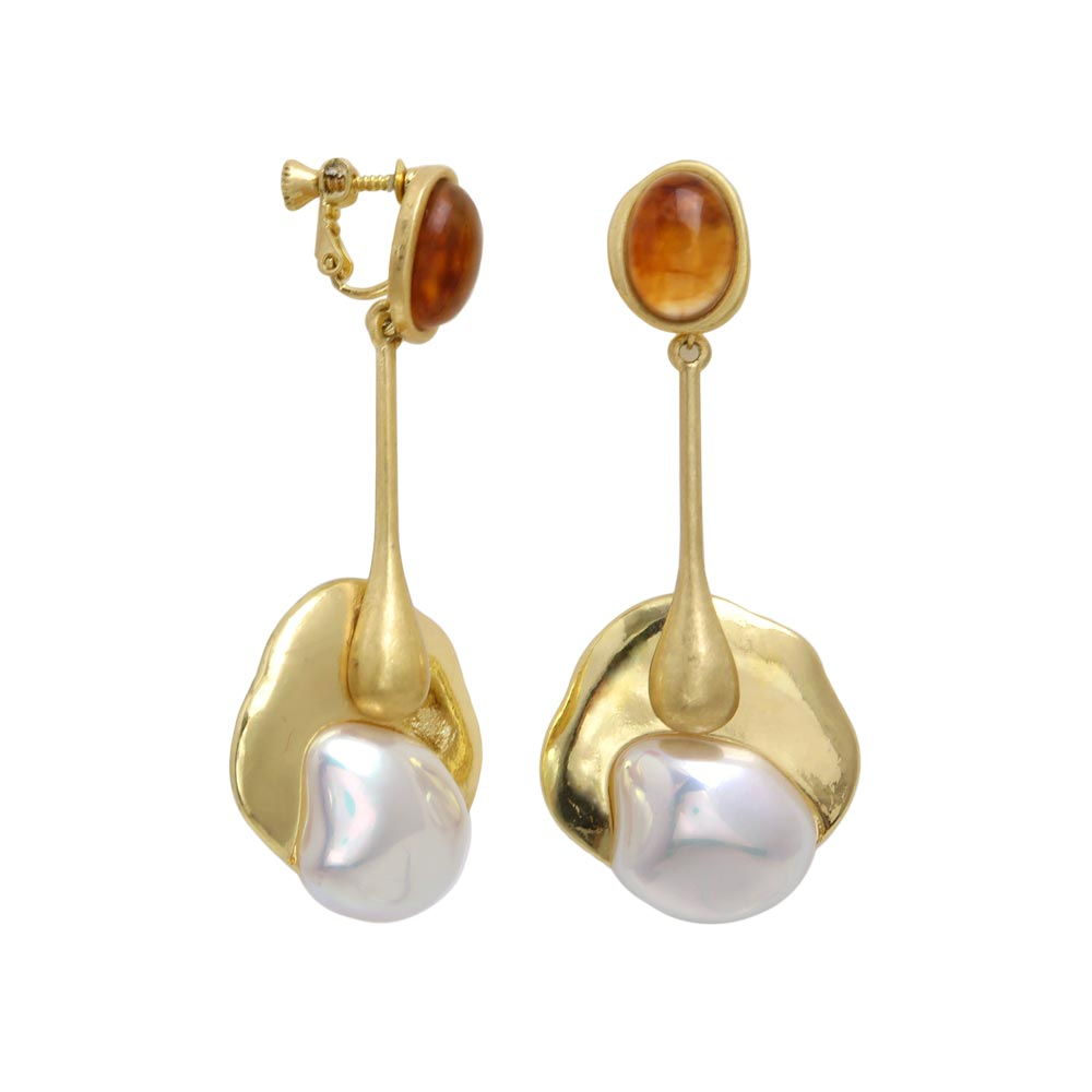 Statement Baroque Pearl Drop Clip On Earrings