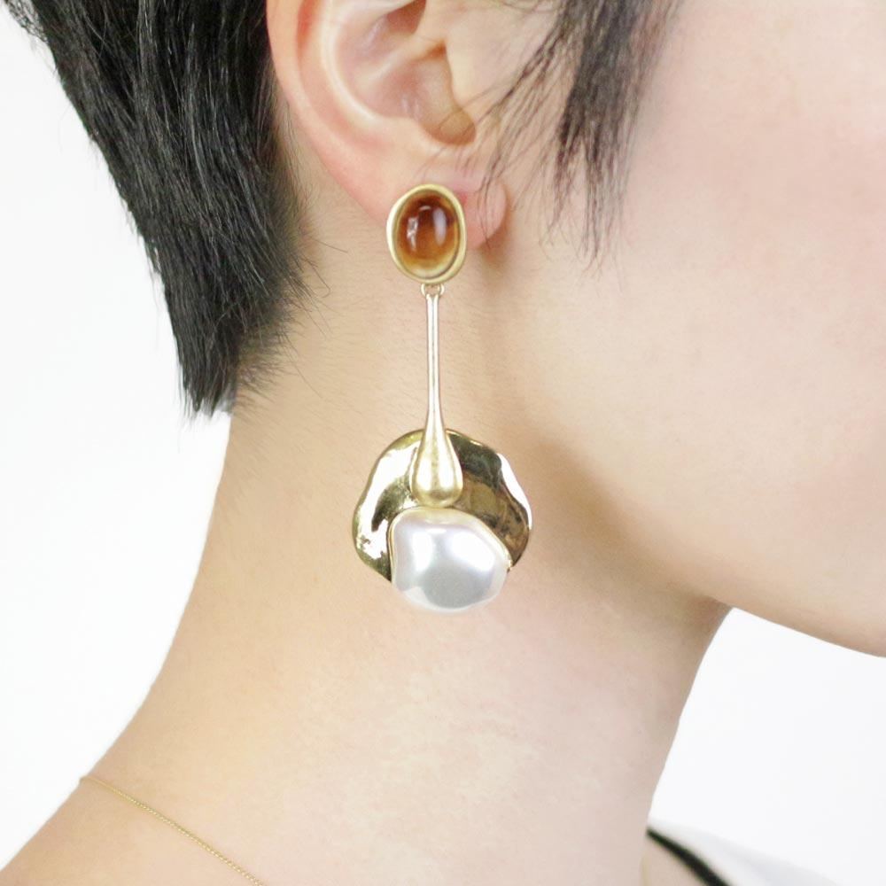 Statement Baroque Pearl Drop Clip On Earrings - Osewaya