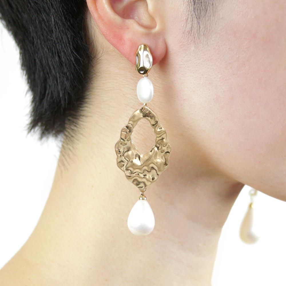 Aurora Pearl Textured Metal Clip On Earrings