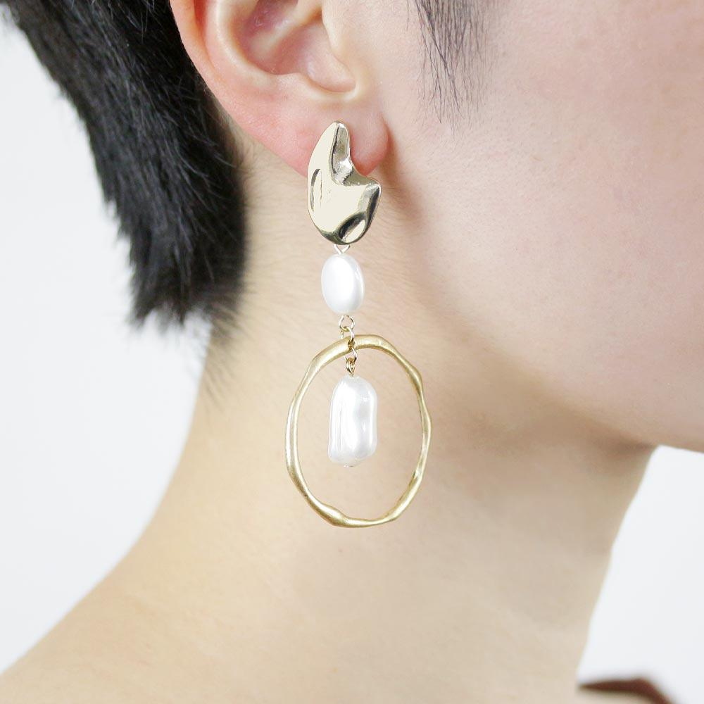 Aurora Pearl  Drop Hoop Clip On Earrings - Osewaya