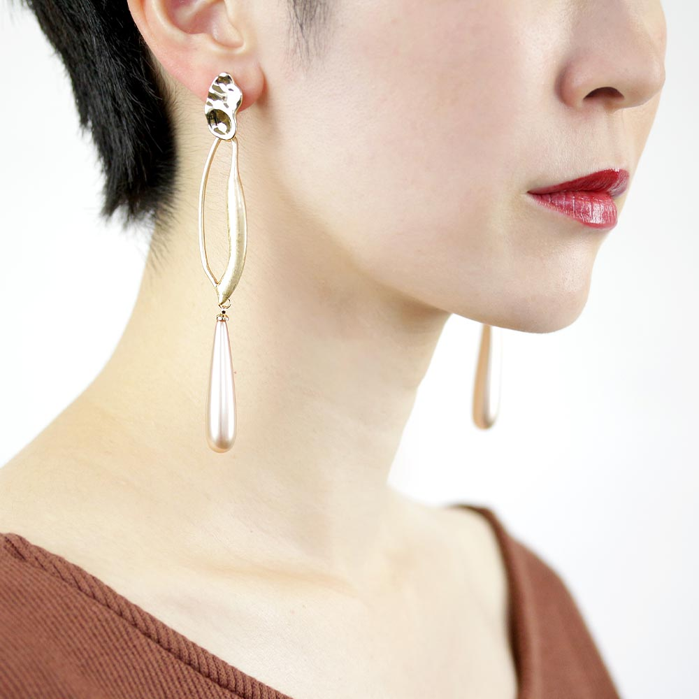 Unique Hoop Teardrop Aurora Pearl Clip On Earrings - Osewaya