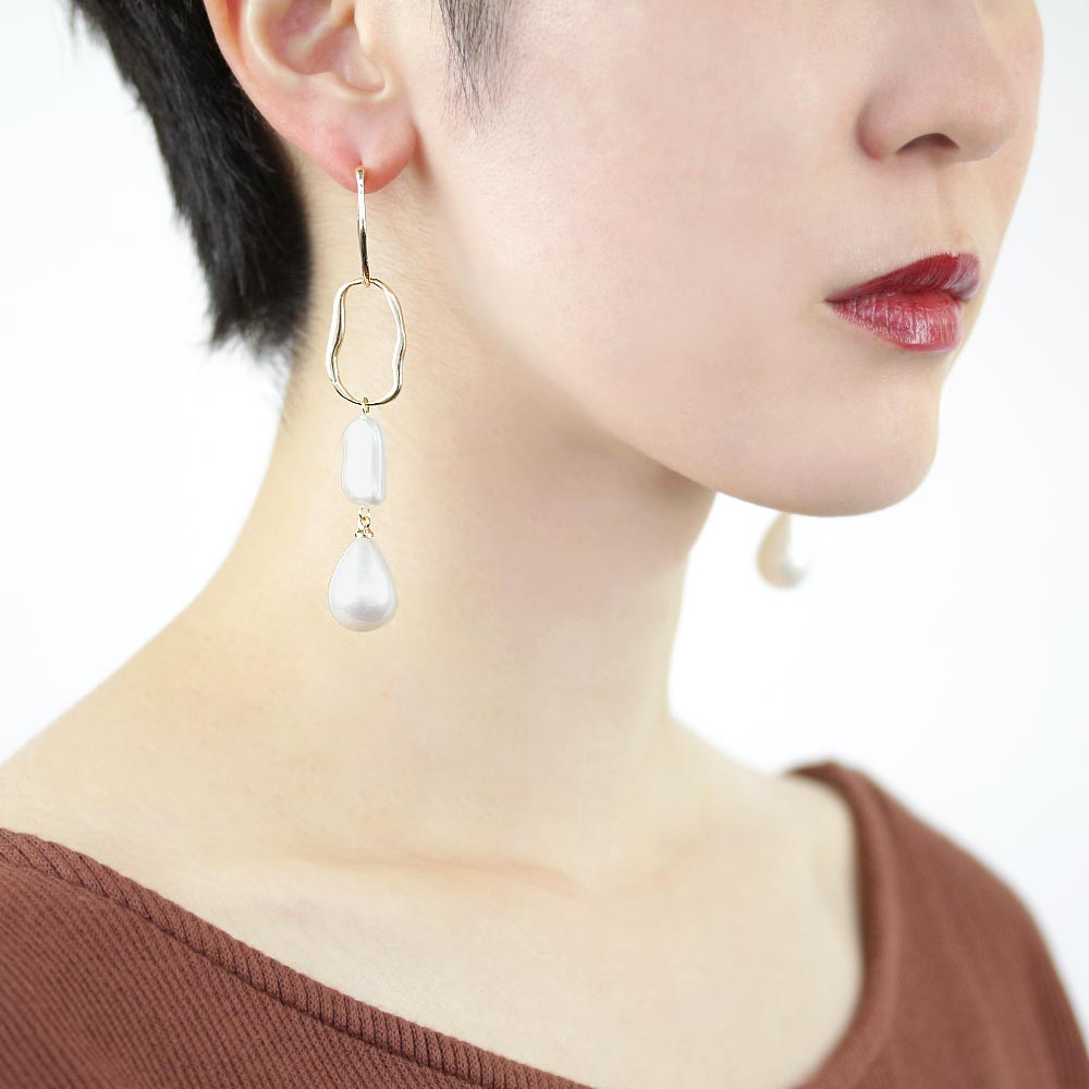 Aurora Pearl Waved Hoop Drop Earrings