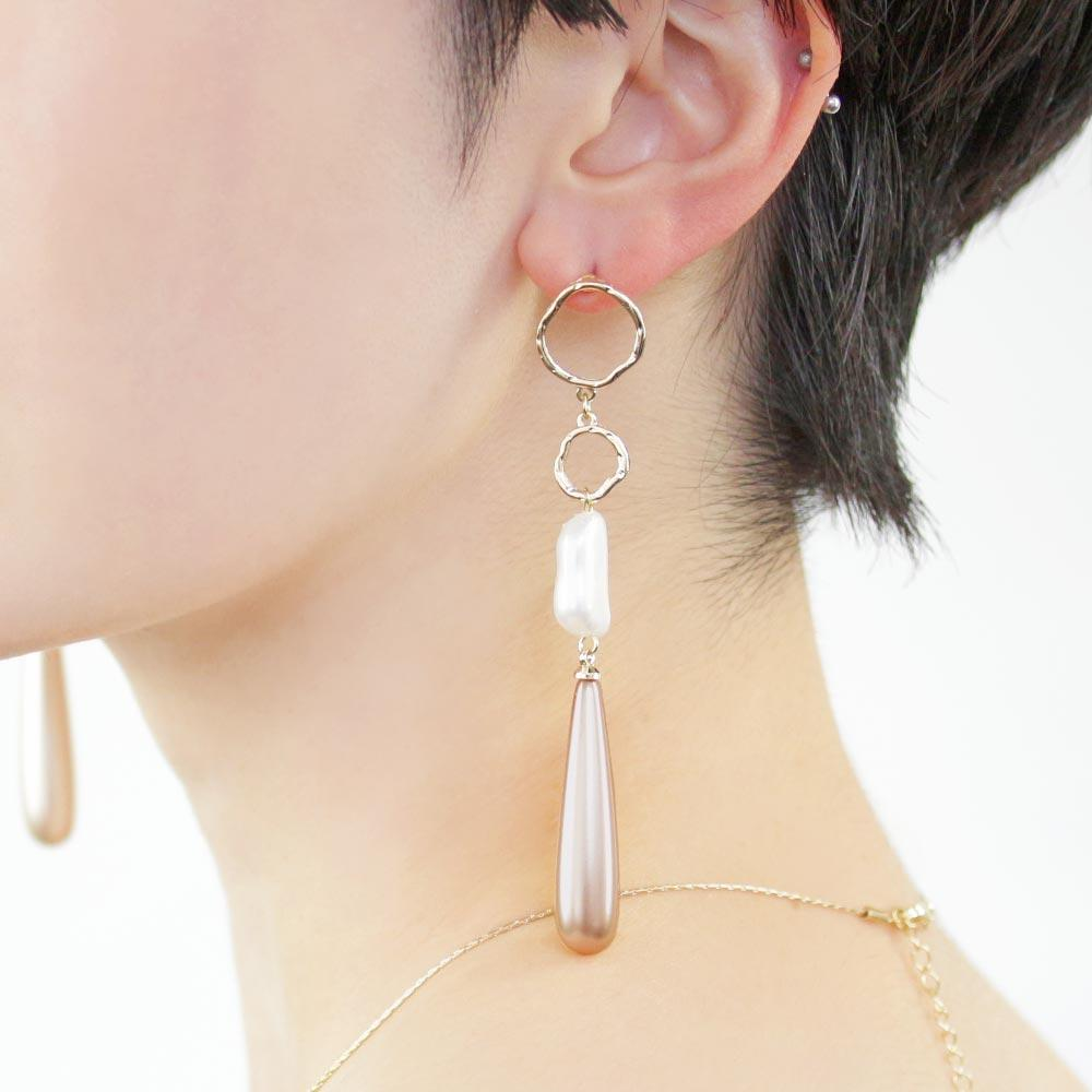 Teardrop Aurora Pearl Linking Earrings