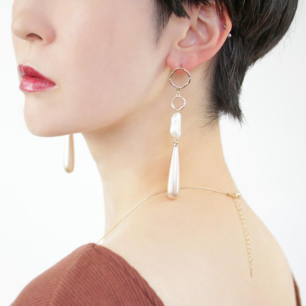 Teardrop Aurora Pearl Linking Earrings - Osewaya