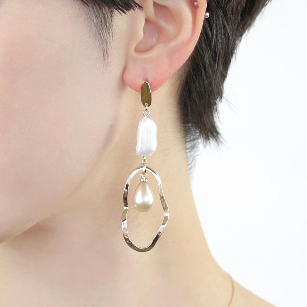 Waved Hoop Teardrop Aurora pearl Earrings