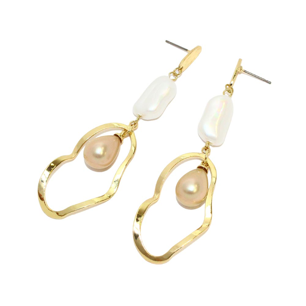 Waved Hoop Teardrop Aurora Pearl Earrings - Osewaya