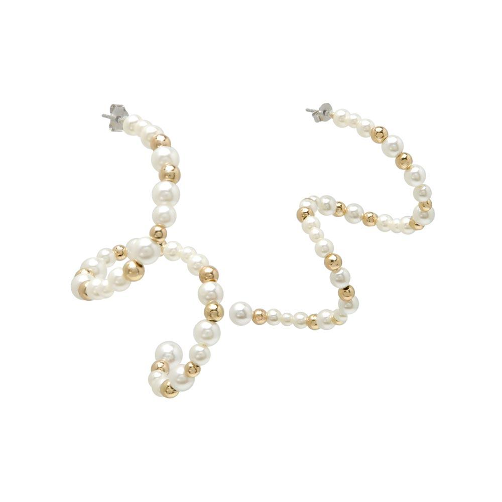 Pearl Strand Spiral Earrings - osewaya