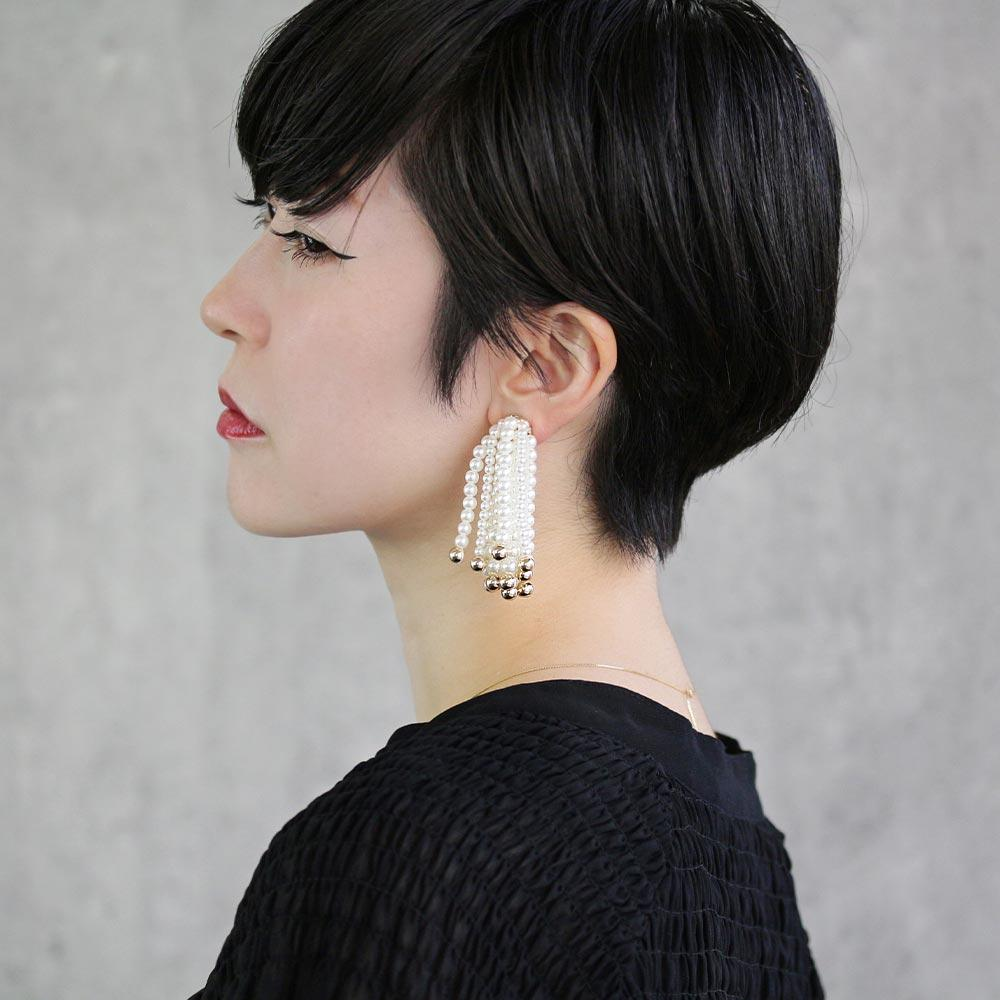 Pearl Waterfall Clip On Back Earrings