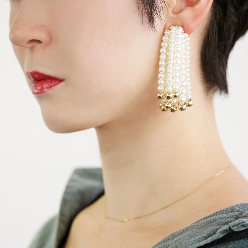 Pearl Waterfall Clip On Back Earrings - Osewaya