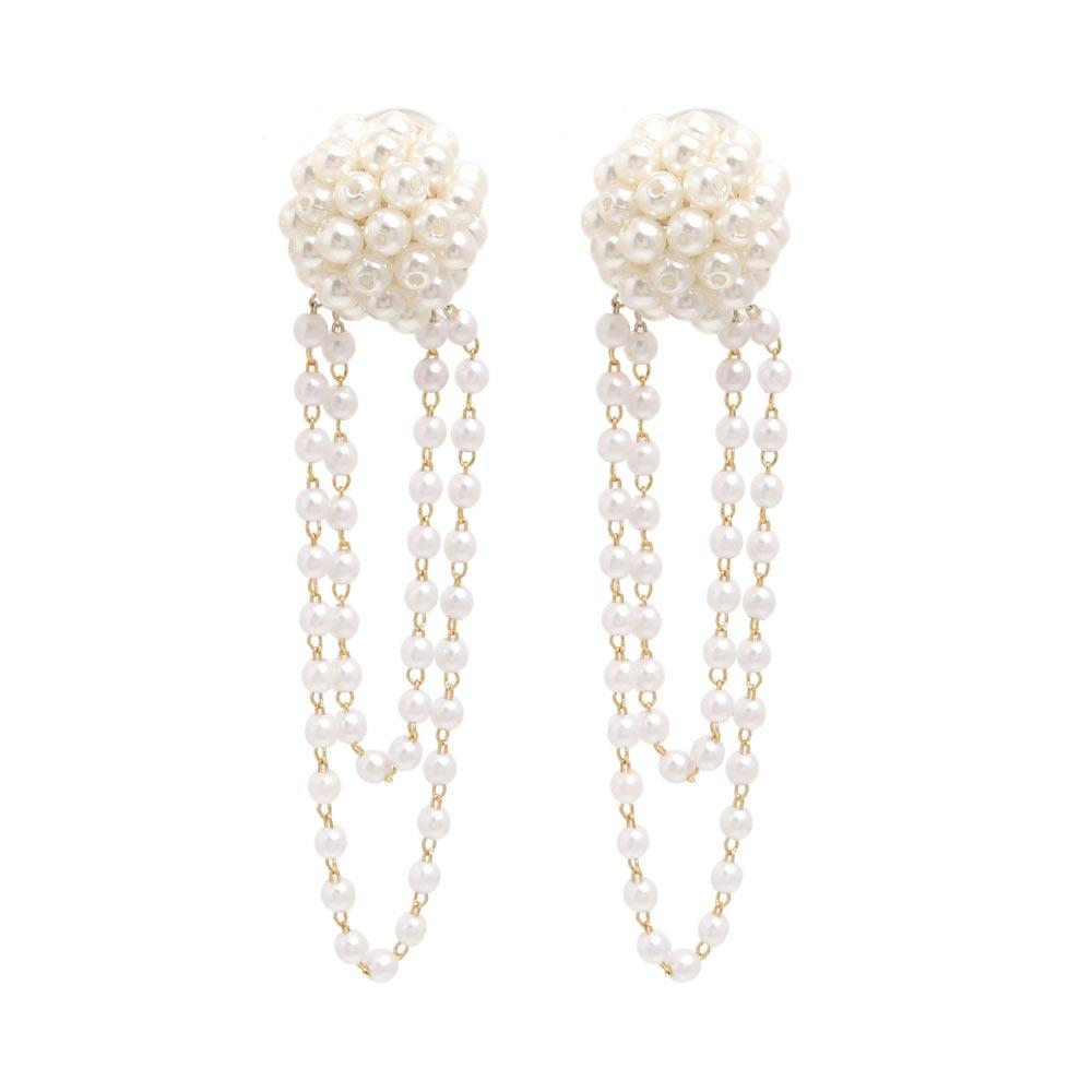 Cluster Pearl Drop Chain Clip On Earrings - osewaya